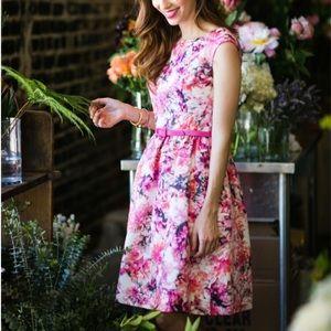 Eliza J pink floral dress with belt size 6